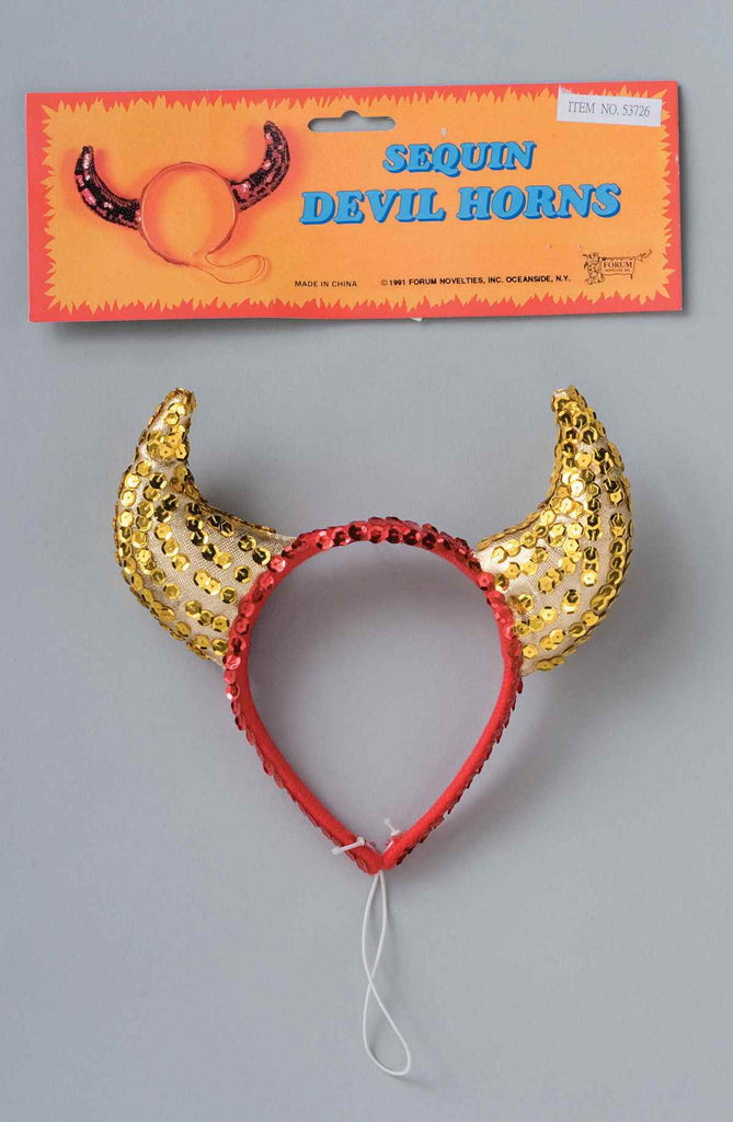 Gold Sequin Devil Horns Halloween Costume Accessory - HalloweenCostumes4U.com - Accessories
