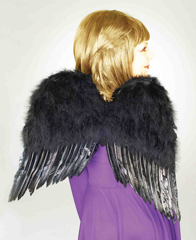 Halloween Costume Wings Black Feather Wings - HalloweenCostumes4U.com - Accessories