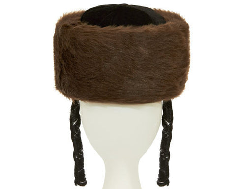 Tall Jewish Shtreimel w/ Side Locks - Brown or White - HalloweenCostumes4U.com - Accessories - 1