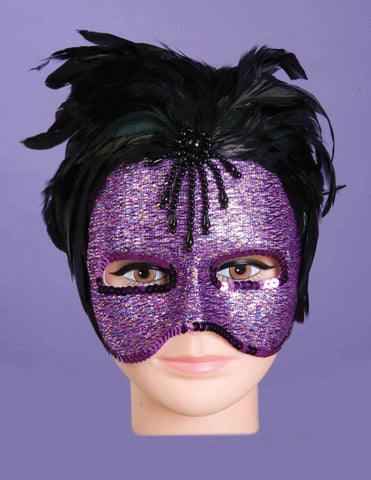 Feather Masks Purple Glitter Eye Mask - HalloweenCostumes4U.com - Accessories
