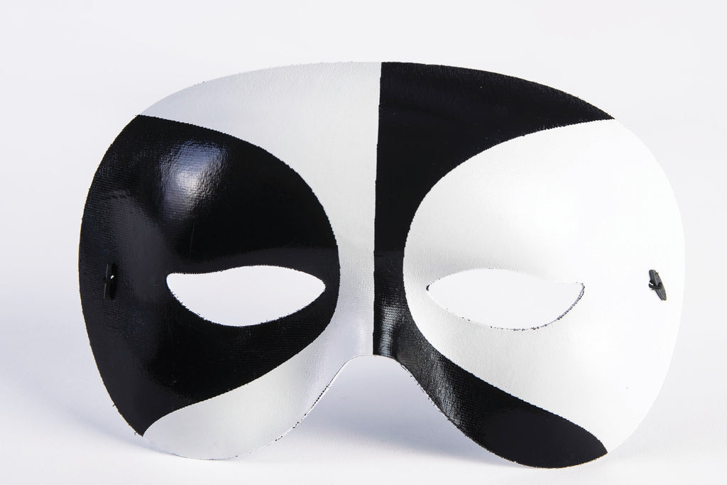 Harlequin Eye Mask Black/White Eyemask - HalloweenCostumes4U.com - Accessories