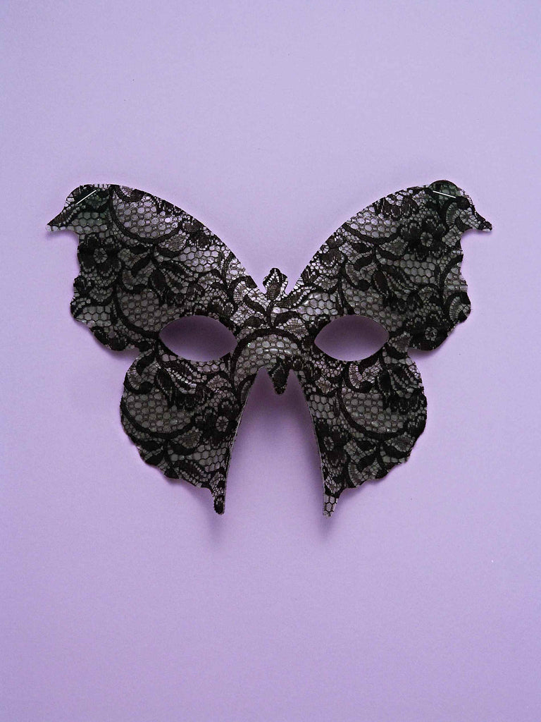 Halloween Black/Silver Butterfly EyeMask - HalloweenCostumes4U.com - Accessories