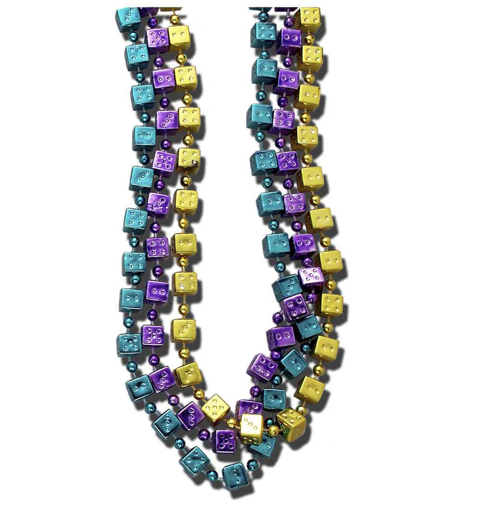 Mardi Gras Beads One Dozen Mardi Gras Dice Beads