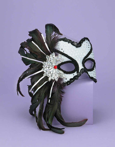 Costume Eye Masks Hers Silver Feathered Masks - HalloweenCostumes4U.com - Accessories