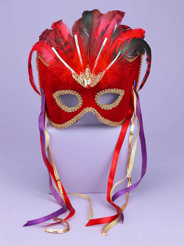 Costume Eye Masks Hers Red Feathered Masks - HalloweenCostumes4U.com - Accessories