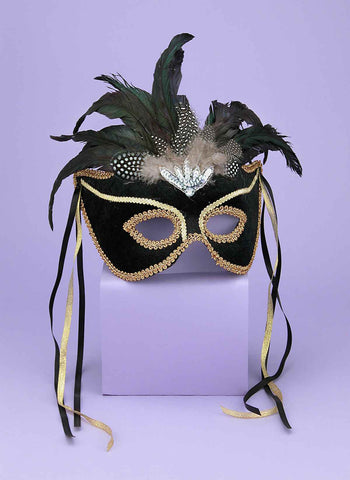 Costume Eye Masks Hers Black Feathered Masks - HalloweenCostumes4U.com - Accessories
