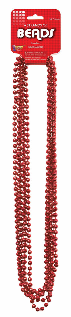 Mardi Gras Beads One Dozen Red 33 inch Mardi Gras Beads
