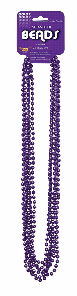 Mardi Gras Beads One Dozen Purple 33 inch Mardi Gras Beads - HalloweenCostumes4U.com - Holidays
