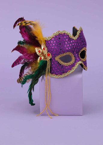 Halloween Eye Masks Purple Masks w/Feathers - HalloweenCostumes4U.com - Accessories