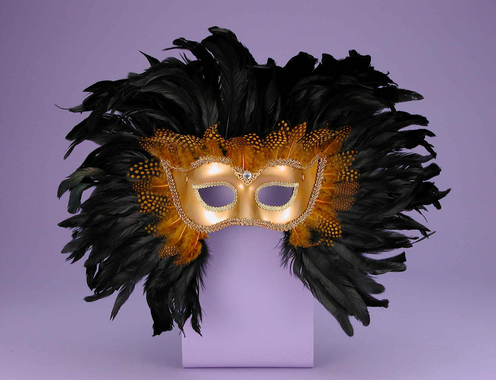 Halloween Masks Fancy Gold/Black Feather Masks - HalloweenCostumes4U.com - Accessories