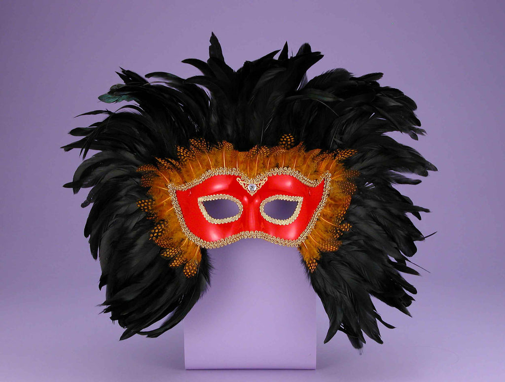 Costume Masks Red/Black Feather Mask