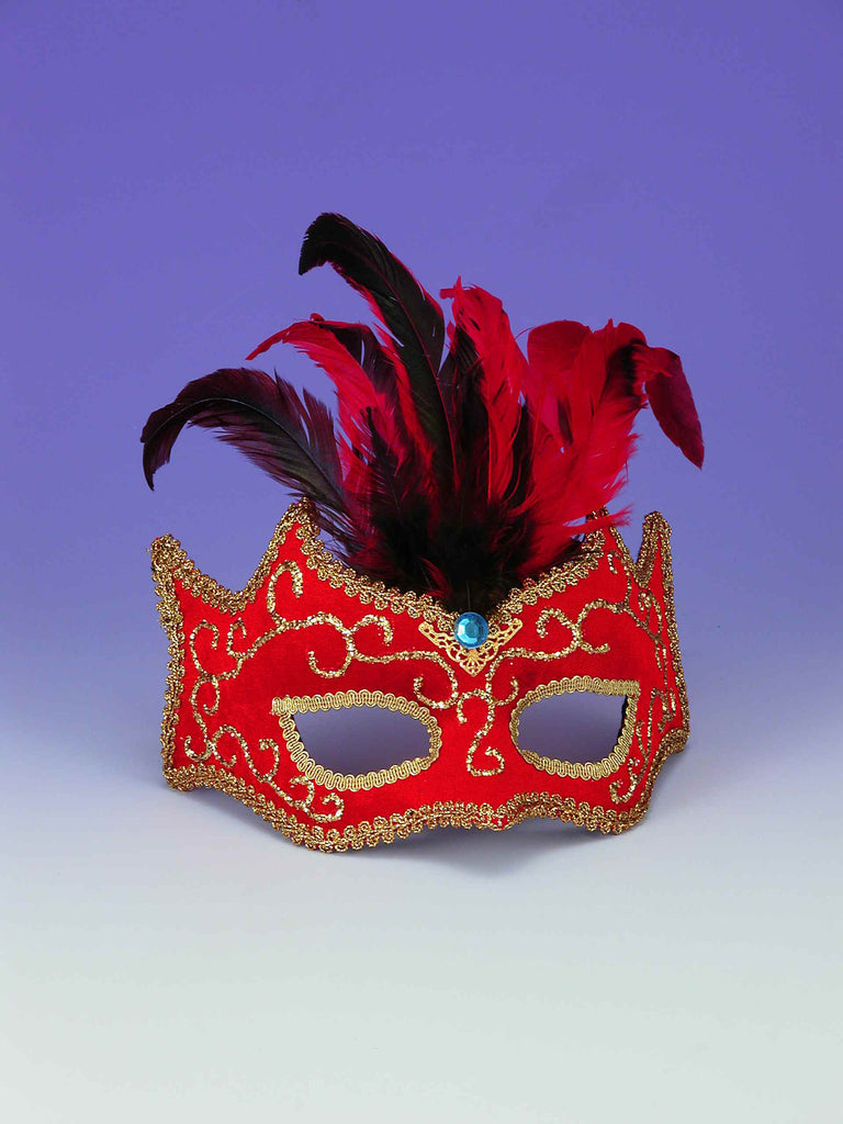 Masquerade Masks Red/Gold Masks w/Feathers - HalloweenCostumes4U.com - Accessories