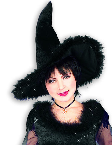 Halloween Hats Witch Hat Velvet w/Black Fur - HalloweenCostumes4U.com - Accessories