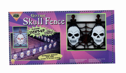 Halloween Decorations Light Up Skull Fence - HalloweenCostumes4U.com - Decorations