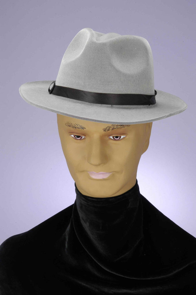 Grey Gangster Hat Grey Flocked Hat - HalloweenCostumes4U.com - Accessories
