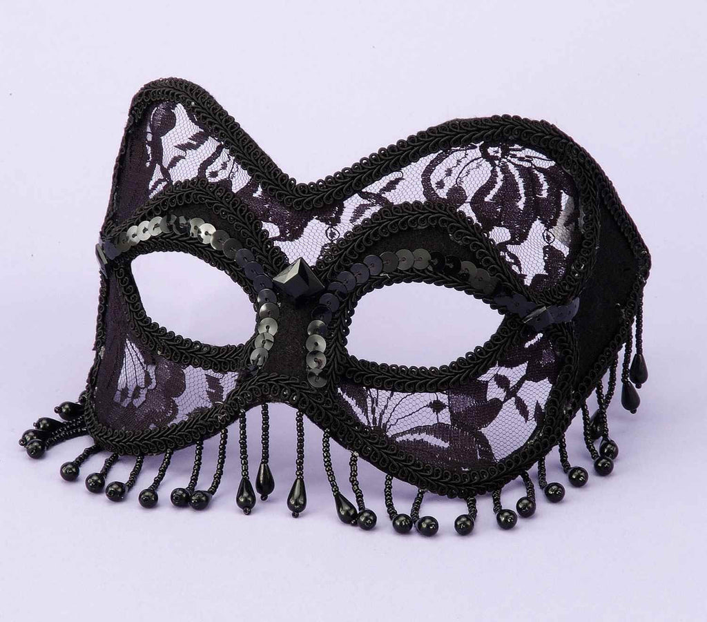 Costume Masks Black Lace Venetian Mask - HalloweenCostumes4U.com - Accessories