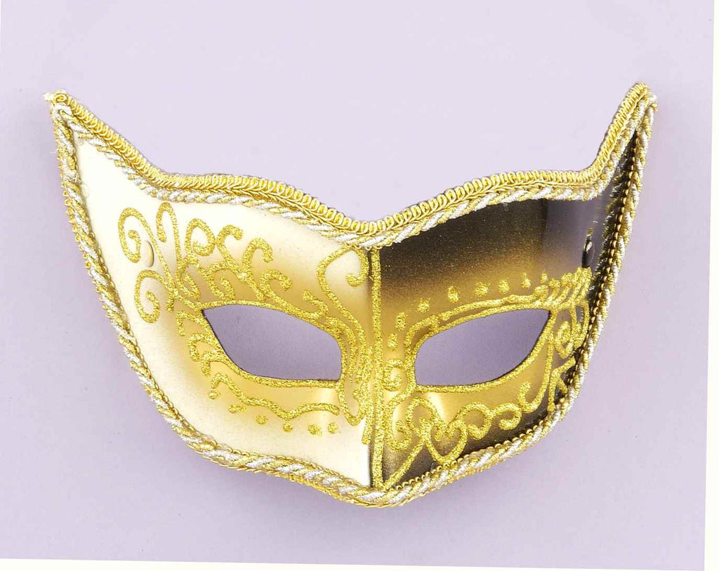 Costume Masks White Black Gold Venetian Mask - HalloweenCostumes4U.com - Accessories