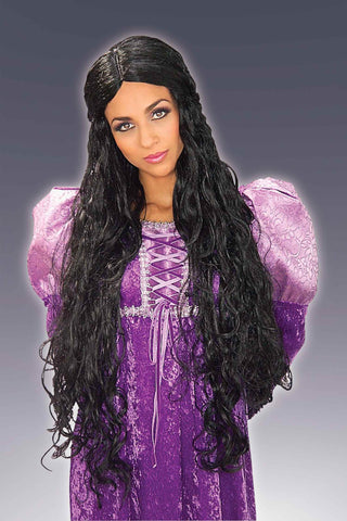 Costume Wigs Long Black Renaissance Wig - HalloweenCostumes4U.com - Accessories