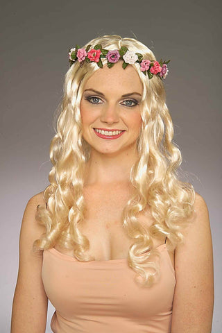 Costume Wigs Curly Blonde Floral Halloween Wig - HalloweenCostumes4U.com - Accessories