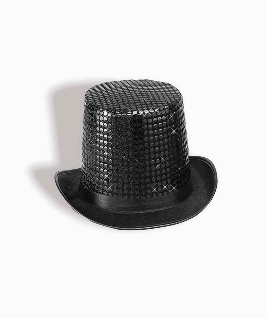 Costume Top Hats Black Sequin Costume Hat