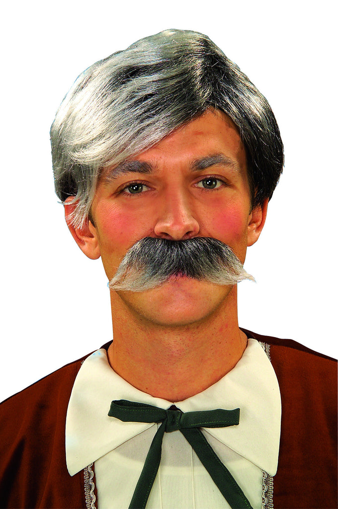 Costume Wig/Moustache Set Grey