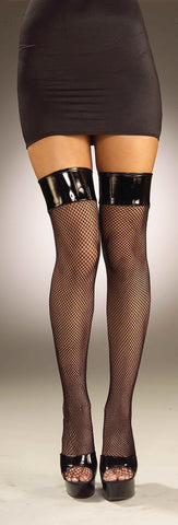 Vinyl Top Black Fishnet Stockings - HalloweenCostumes4U.com - Accessories