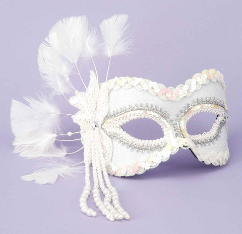 Costume Masks White Venetian Eye Masks - HalloweenCostumes4U.com - Accessories