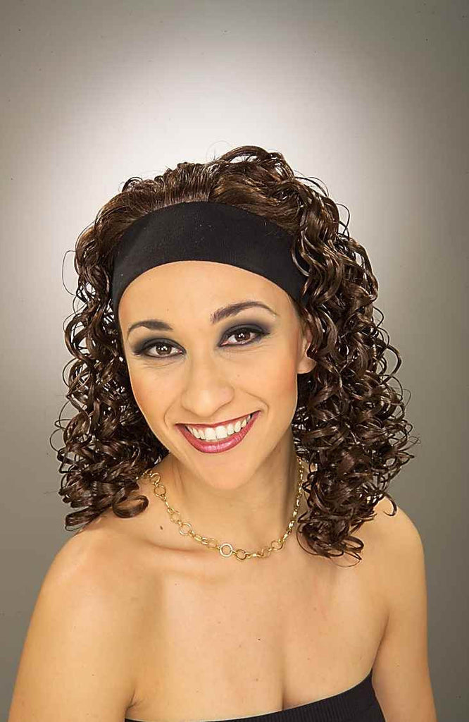 Costume Wigs Brown Curly Wig w/Headband