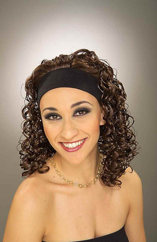 Costume Wigs Brown Curly Wig w/Headband - HalloweenCostumes4U.com - Accessories
