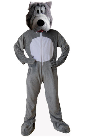 Adults Grey Wolf Mascot Costume - HalloweenCostumes4U.com - Adult Costumes