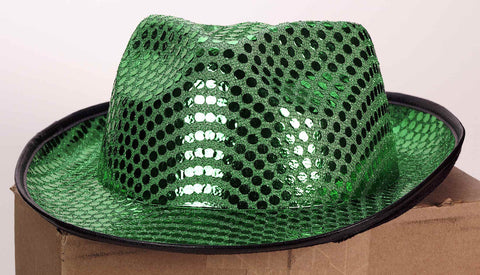 St Patricks Day Hats Green Sequin Fedora Hat - HalloweenCostumes4U.com - Holidays
