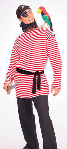 Halloween Pirate Shirts Red Striped Pirate Shirt - HalloweenCostumes4U.com - Adult Costumes