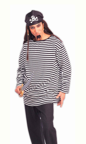 Halloween Pirate Shirts Black Striped Pirate Shirt - HalloweenCostumes4U.com - Adult Costumes