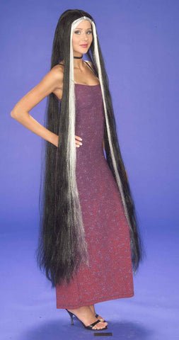 Halloween Wigs Super Long Godiva Wig Black/Grey - HalloweenCostumes4U.com - Accessories