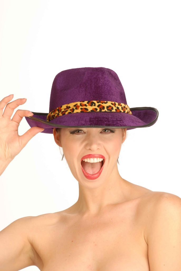 Halloween Costume Hats  Velvet Fedora Hat Purple - HalloweenCostumes4U.com - Accessories