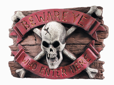 Skull Beware Sign - HalloweenCostumes4U.com - Decorations