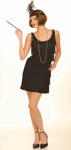 Womens Black Flapper Costume - HalloweenCostumes4U.com - Adult Costumes
