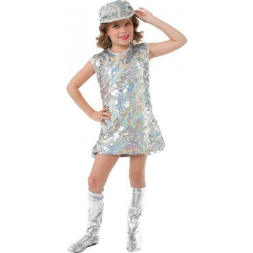 Girls Silver Mod Gal Costume - HalloweenCostumes4U.com - Kids Costumes