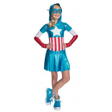 Girls Captain America Hooded Dress - HalloweenCostumes4U.com - Kids Costumes