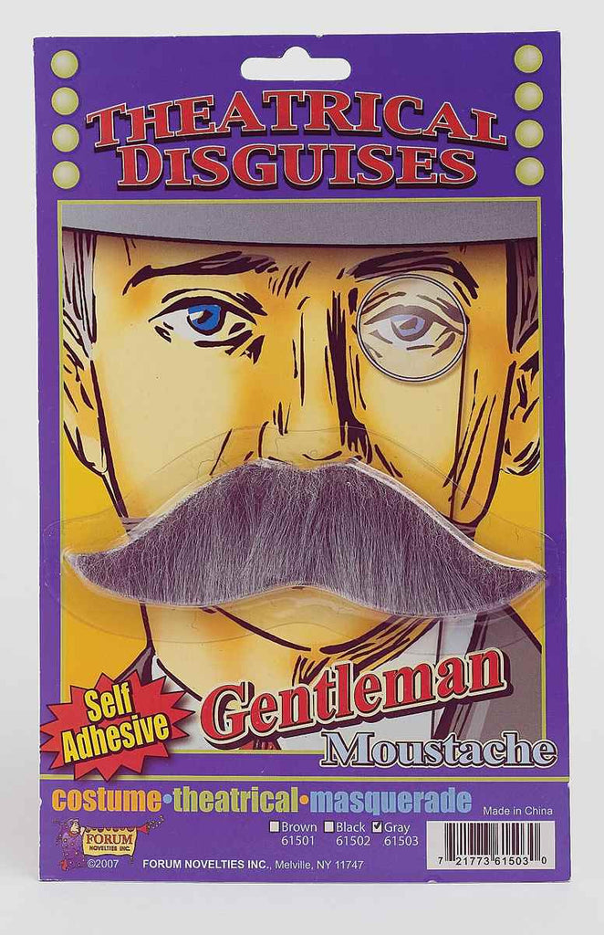 Halloween Costume Moustaches British Moustache Grey - HalloweenCostumes4U.com - Accessories
