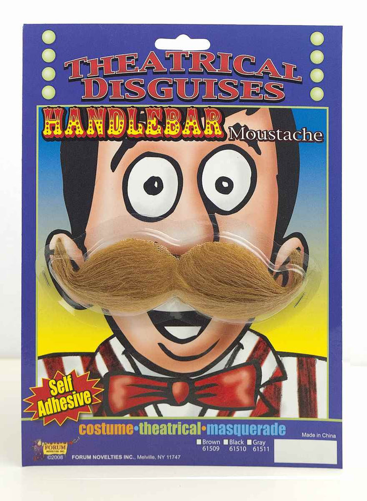 Halloween Costume Moustaches Handlebar Moustache Brown - HalloweenCostumes4U.com - Accessories
