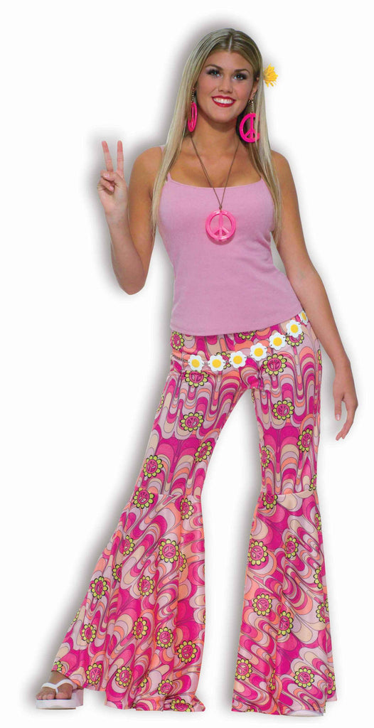 Womens Hippie Costume Pink Bell Bottom Pants