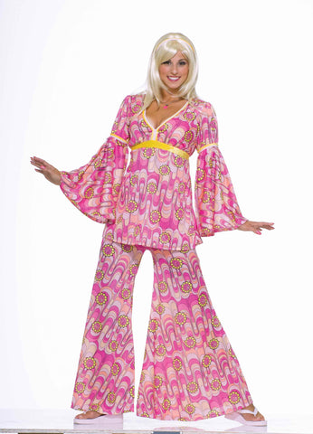 Hippie Costumes Womens Pink Hippie Halloween Costume - HalloweenCostumes4U.com - Adult Costumes