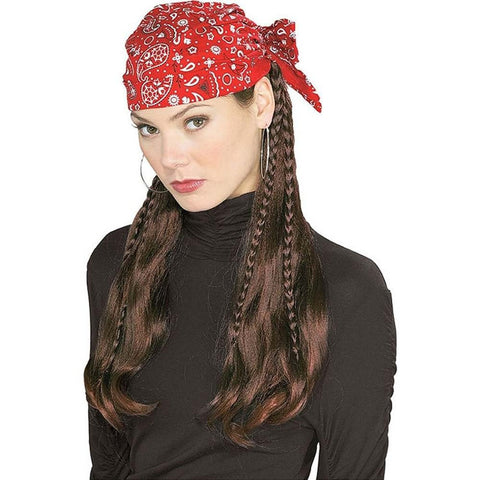 Pirate Wig with Bandanna - Various Colors - HalloweenCostumes4U.com - Accessories - 1