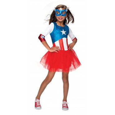 Girls Captain America Dress - HalloweenCostumes4U.com - Kids Costumes