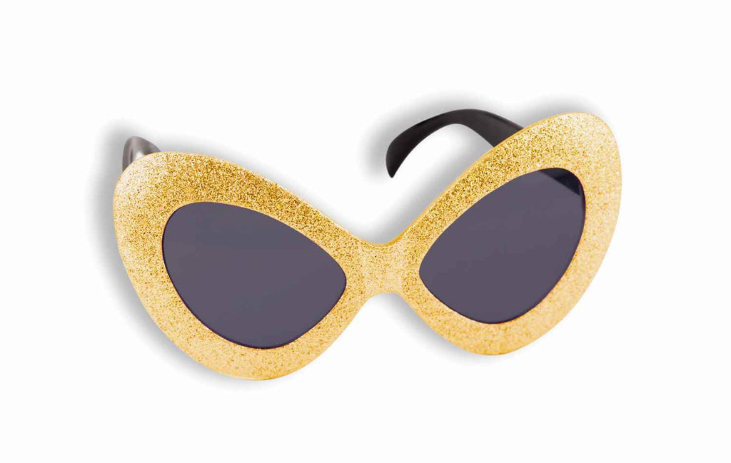 Gold Glitter 60's Gal MOD Sunglasses - HalloweenCostumes4U.com - Accessories
