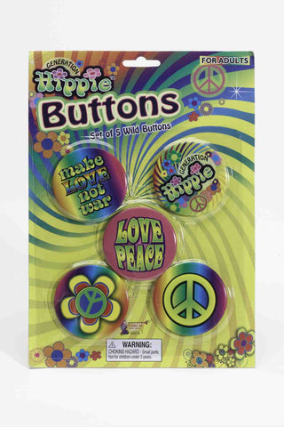 Halloween Costume Hippie Buttons Set 6 Pc - HalloweenCostumes4U.com - Accessories
