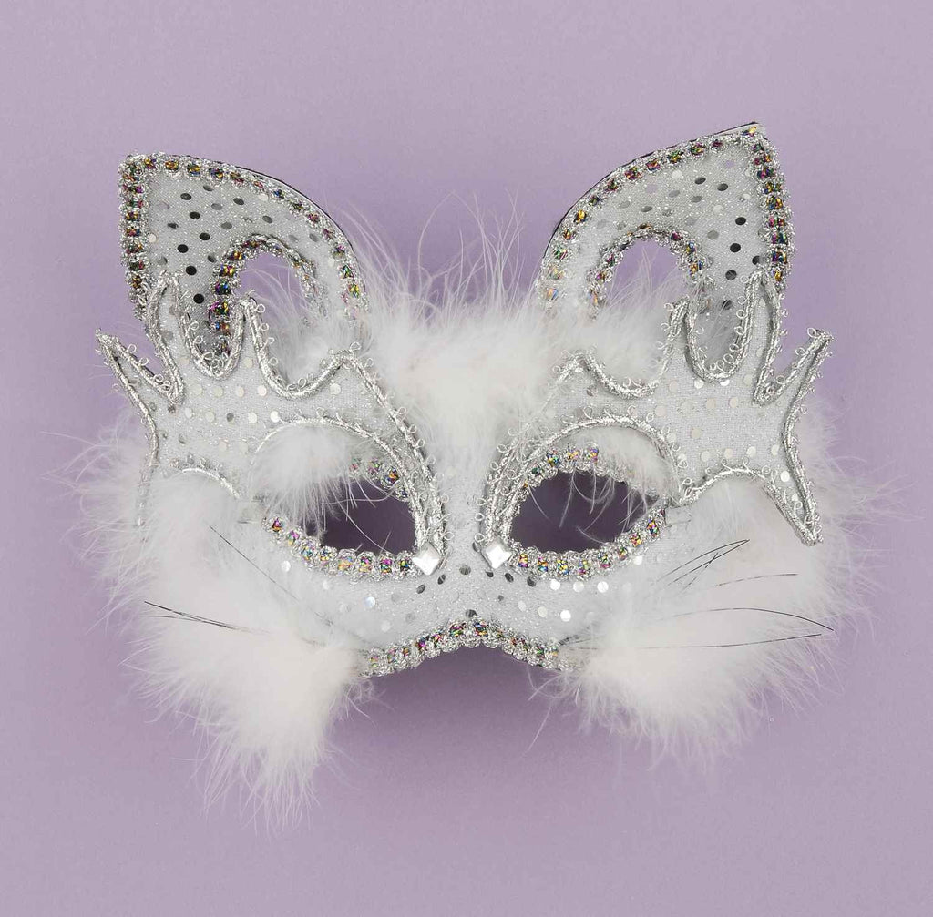 Marabou Feather White Cat Half Mask - HalloweenCostumes4U.com - Accessories