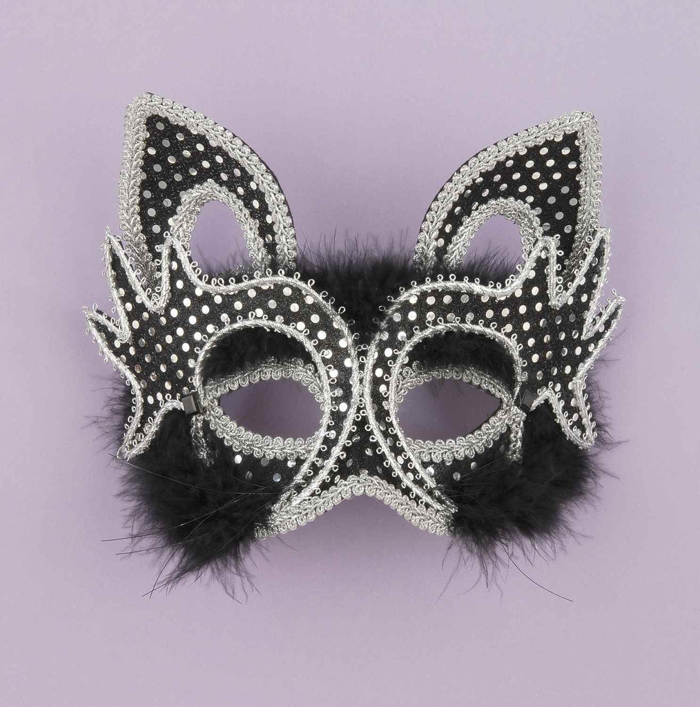 Marabou Feather Black Cat Half Mask - HalloweenCostumes4U.com - Accessories