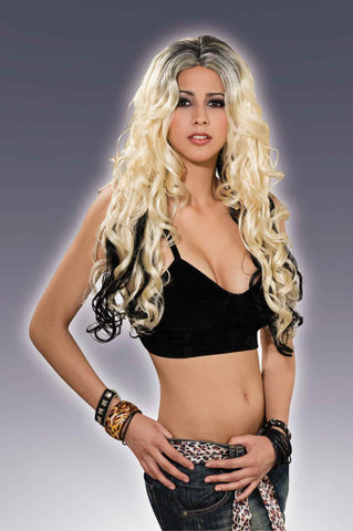 Long Blonde Curls Wig w/Black Streaks - HalloweenCostumes4U.com - Accessories